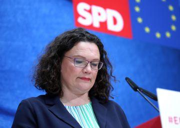 Andrea Nahles en una rueda de prensa en Berlín del mes pasado.