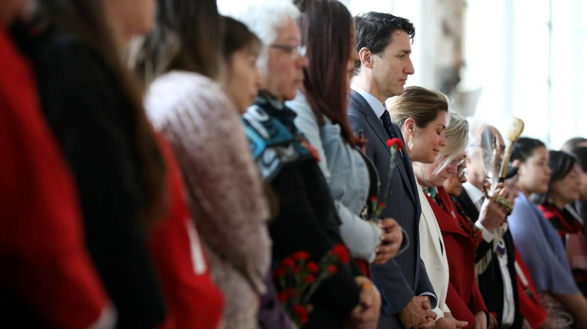 El primer ministro canadiense, Justin Trudeau, durante un minuto de silencio en Gatineau, Quebec, hoy.