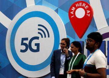 Un cartel del 5G, en una feria de telefonía, en Nueva Delhi el pasado octubre.