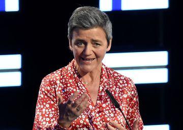 La comisaria Margrethe Vestager, en un debate de las elecciones al Parlamento Europeo.
