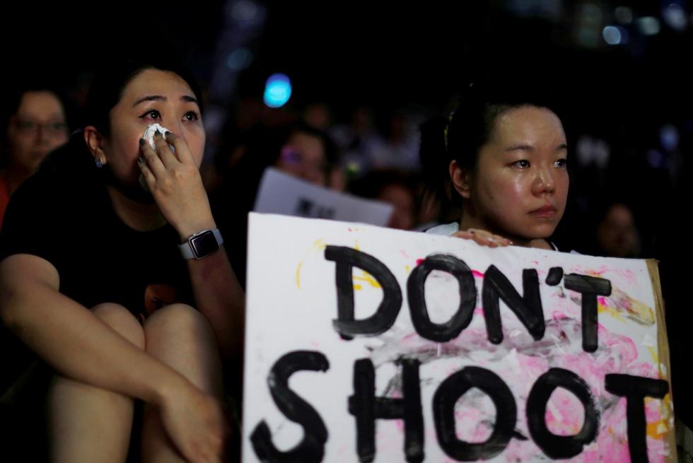 Manifestantes en Hong Kong el 14 de junio.