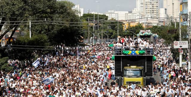 La multitudinaria Marcha para Jesús este jueves en São Paulo.