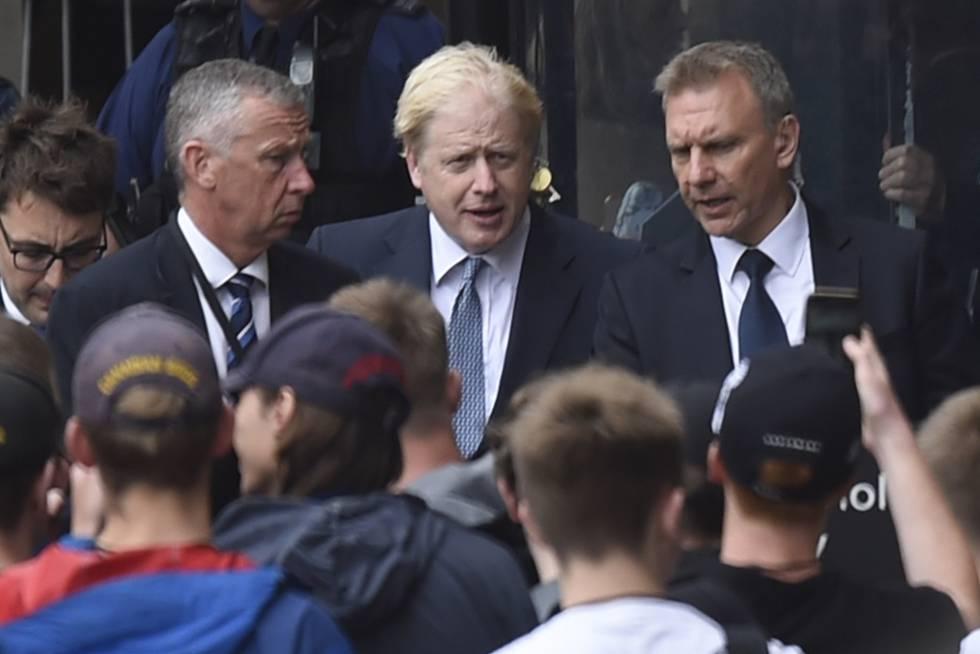 Boris Johnson, a su llegada este miércoles al Parlamento del Reino Unido