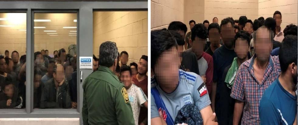 Celdas del centro de detención de McAllen, Texas, tan llenas que los adultos solo pueden estar de pie. La imagen es del 10 de junio y sale en el informe del Gobierno.
