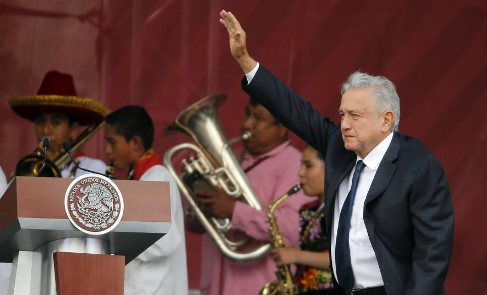 López Obrador ofrece un discurso este lunes.