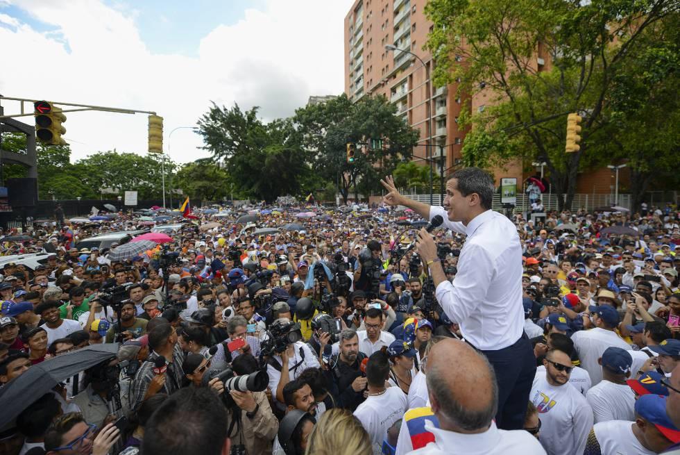 Juan Guaidó, durante la movilización del Día de la Independencia.