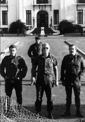 Aldo Rico, en el centro, como líder de los carapintadas en 1987.