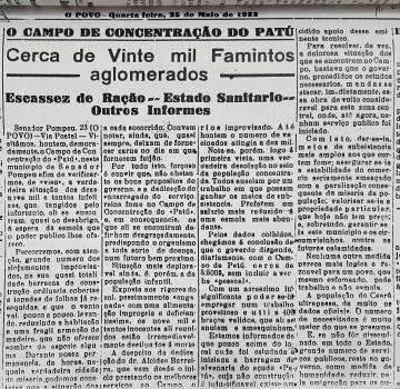 El periódico 'O Povo' de mayo de 1932 destacaba las condiciones de los migrantes en el 'campo' de Senador Pompeu.