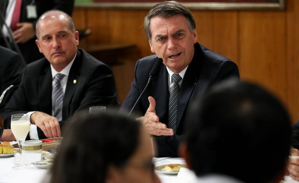 El presidente Jair Bolsonaro, durante un encuentro con corresponsales extranjeros.