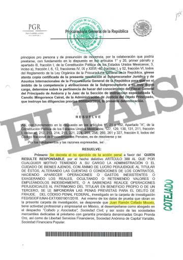 Documento de la fiscalía mexicana (PGR) que solicita la no acción penal contra el abogado Juan Ramón Collado.