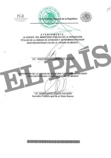 Documento de la fiscalía mexicana (PGR) que solicita la