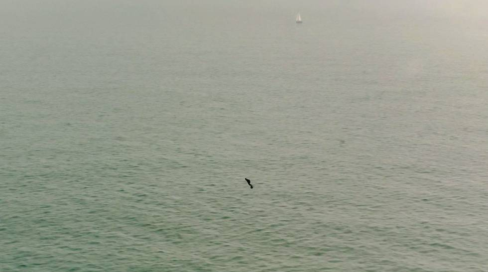 Franky Zapata, durante su trayecto en el canal de la Mancha.