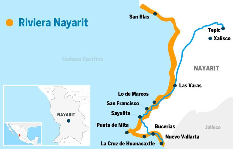 Mapa de Nayarit.