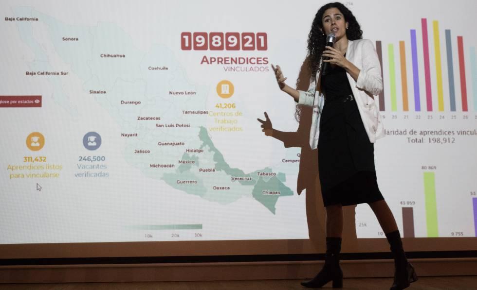 La secretaria del Trabajo, Luisa María Alcalde, en marzo pasado.