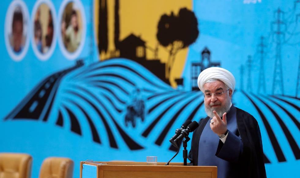 El presdente iraní, Hasan Rohani, durante su intervención del lunes en Teherán.