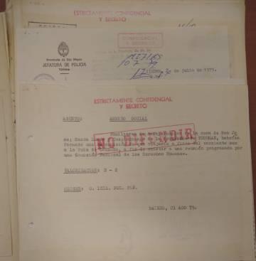 Documento de la Mesa Delincuentes Subversivos, legajo N° 14413, referido a la visita de la CIDH a Buenos Aires.