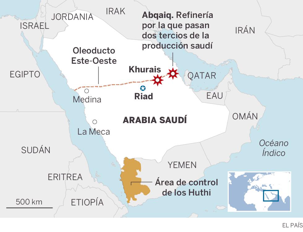 Arabia Saudí interrumpe la mitad de su producción de crudo tras un ataque con drones