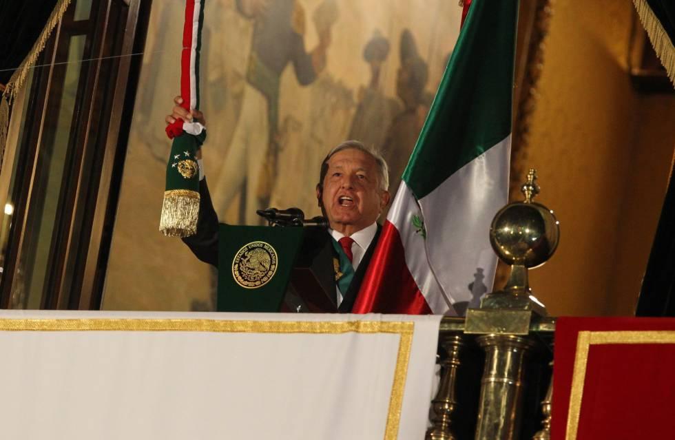 López Obrador la noche del domingo durante el 'Grito' de la Independencia de México