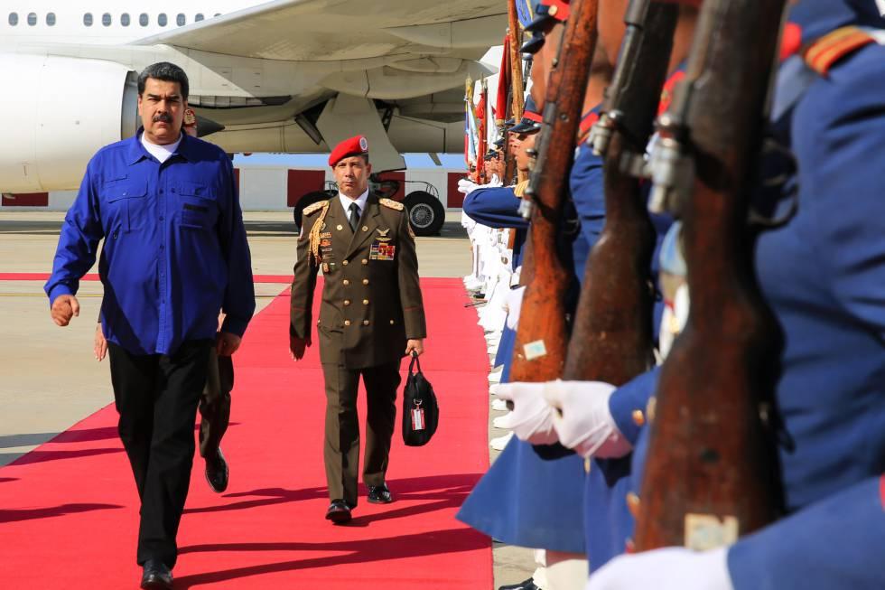 El presidente venezolano, Nicolás Maduro, el jueves a su regreso de Rusia.