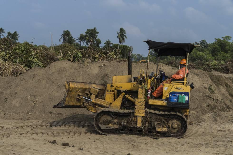 Un operador remueve la tierra y el manglar en Paraíso (Tabasco).