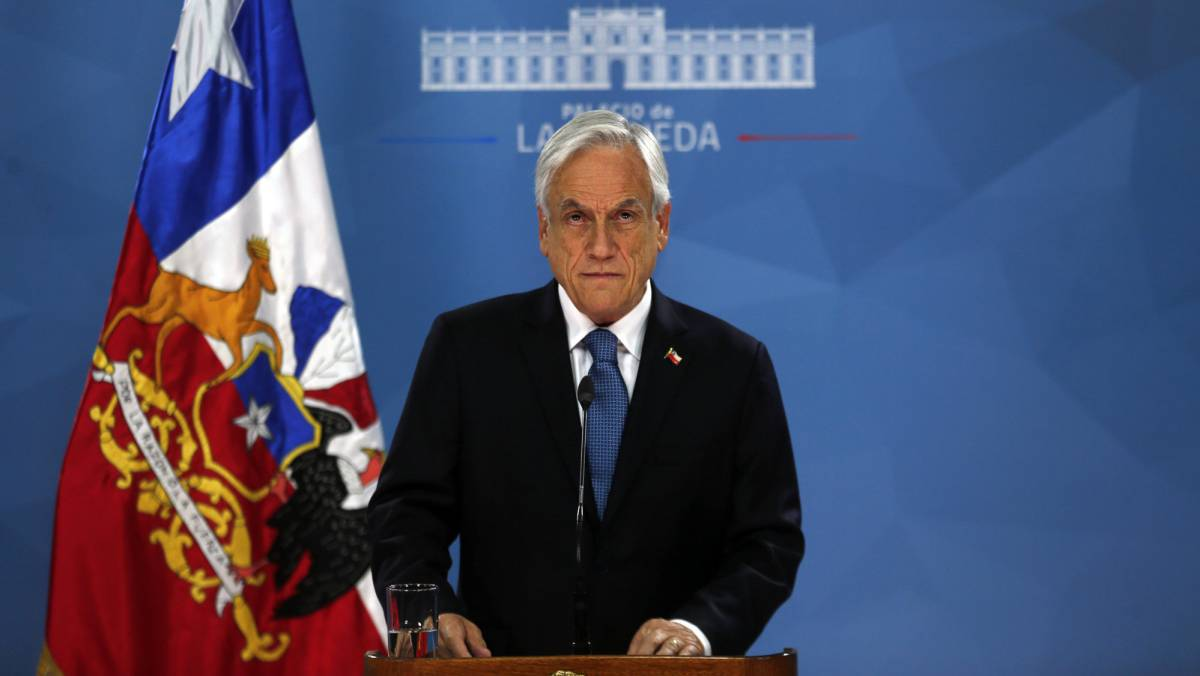 El presidente Sebastián Piñera en La Moneda.