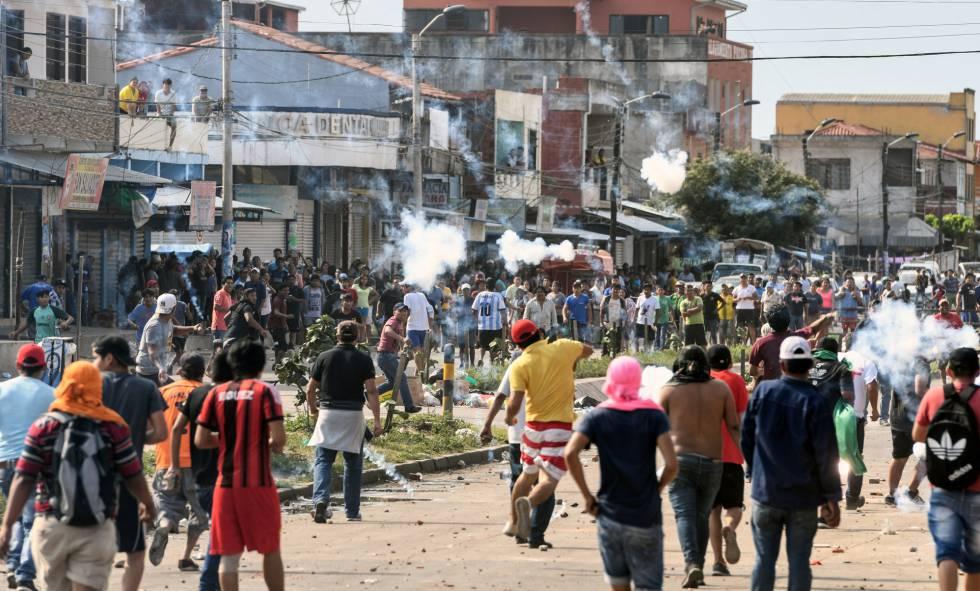 Una de las protestas en Santa Cruz, Bolivia.
