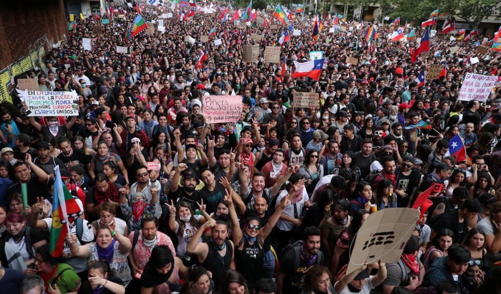 La manifestación de este viernes, en Santiago de Chile.