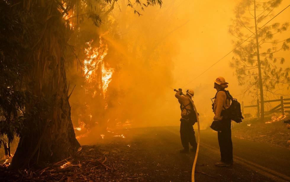Bomberos en el incendio Kincade, al norte de San Francisco.