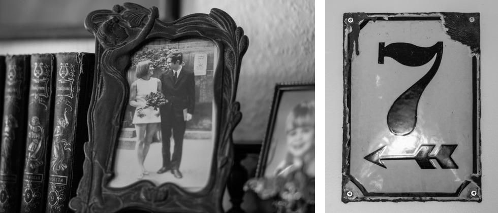 Fotografía de Joachim Rudolph y su esposa, Eveline, y la placa que cuelga en su casa en recuerdo del piso donde estaba el túnel que durante un tiempo unió las dos mitades de Berlín.