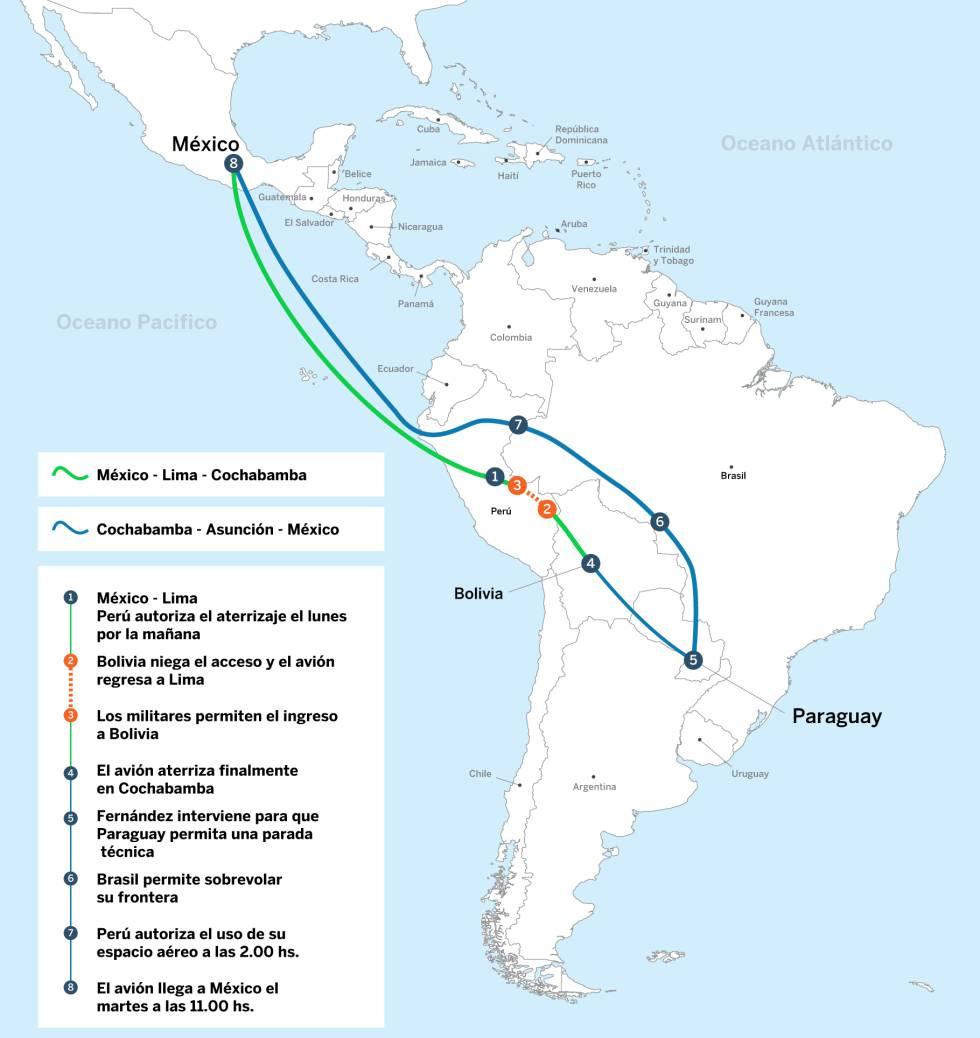El recorrido de Evo Morales hasta Ciudad de México.