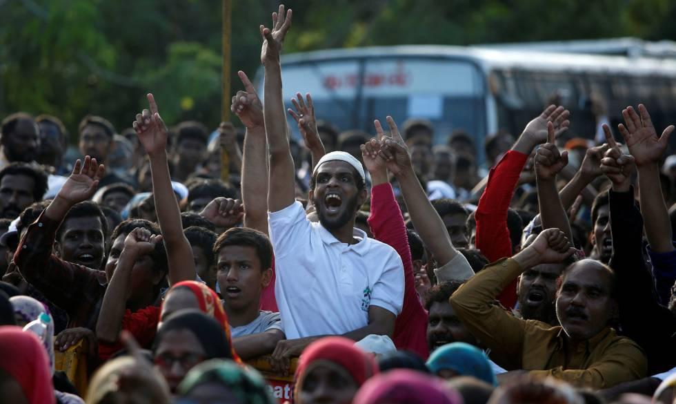 Protestas de la comunidad musulmana en la India tras el fallo.