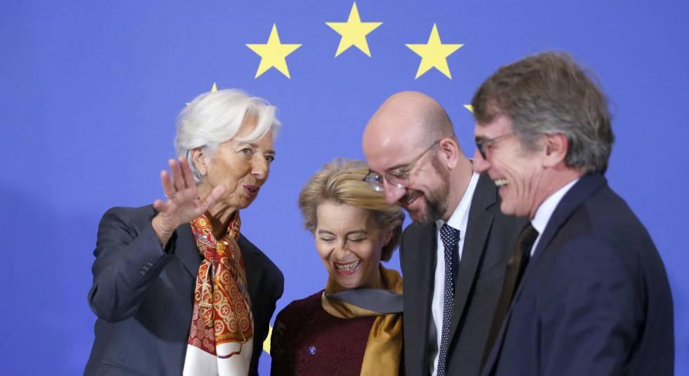Christine Lagarde, Ursula von der Leyen, Charles Michel y David Sassoli, el domingo en Bruselas.