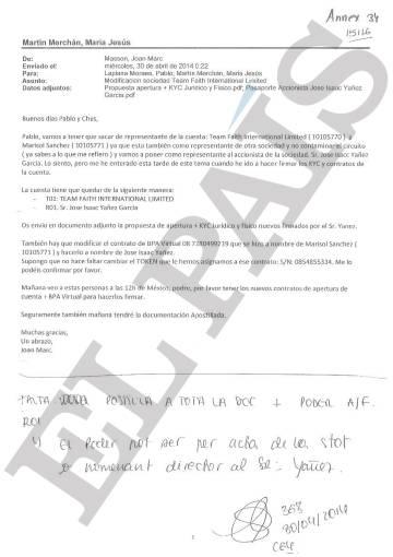 Correo remitido a sus colaboradores por el exempleado de la Banca Privada d'Andorra Joan March Masson el 30 de abril de 2014.
