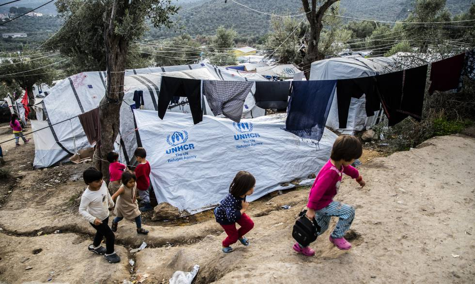 Children in the Moria refugee camp, in Lesbos (Greece), last November.