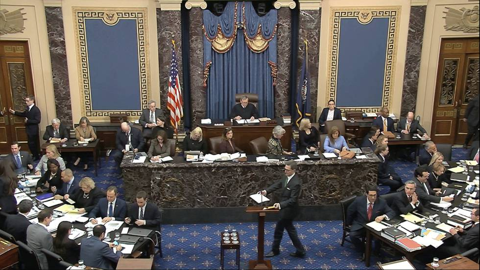 Captura de pantalla de la sala del Senado donde se debate el impeachment.