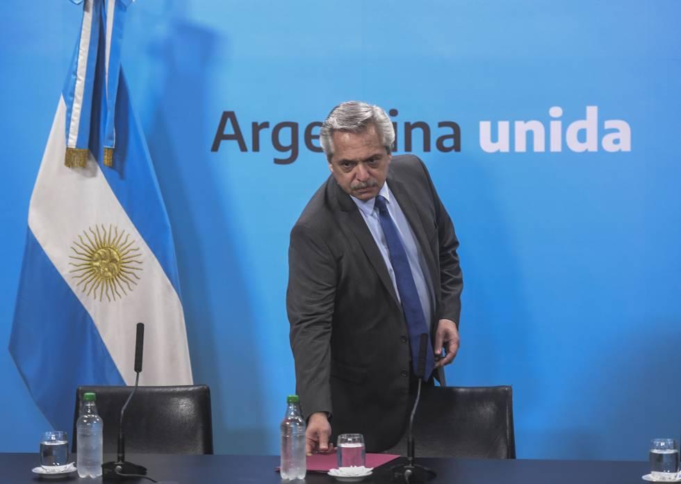 El presidene Alberto Fernández durante el anuncio, el viernes pasado de una subida de las pensiones.
