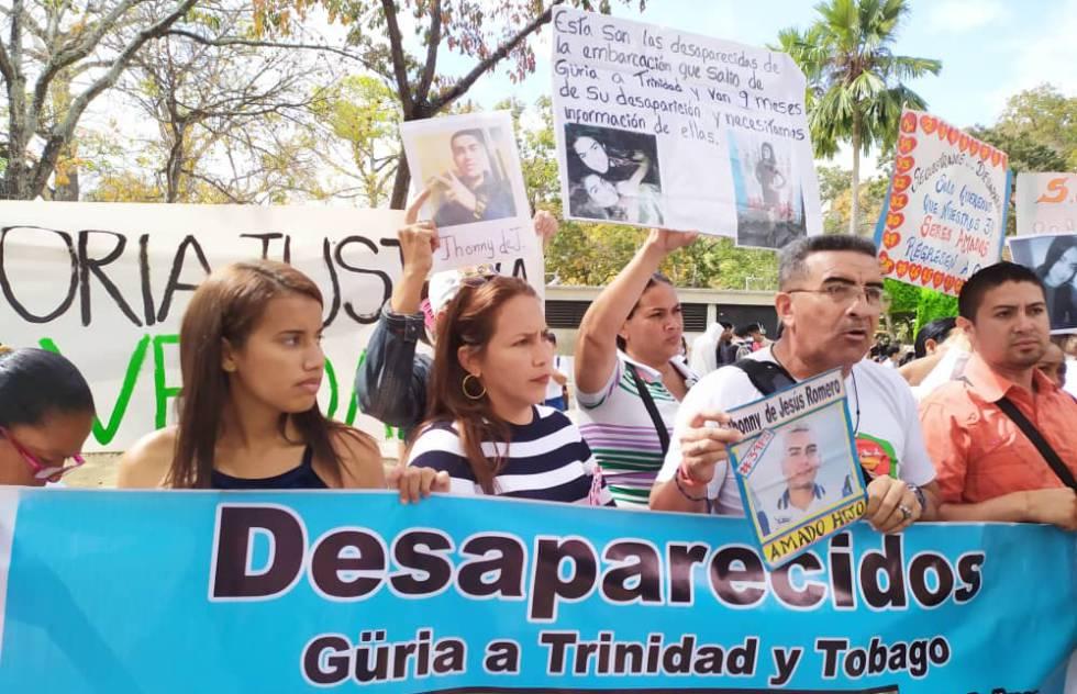La protesta de los familiares de desaparecidos, en Caracas.