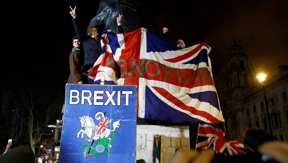 Celebración de la salida del Reino Unido de la UE, el pasado 31 de enero en Londres.