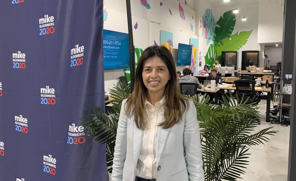Linda Lopez, directora política de la campaña de Bloomberg en California, el pasado martes en la oficina de Los Ángeles.