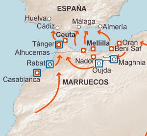 Mapa Marruecos Ceuta Y Melilla.30 000 Inmigrantes Aguardan En Marruecos Para Saltar A Ceuta