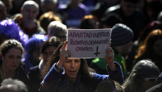 A protest against abortion reform in Madrid on March 13.