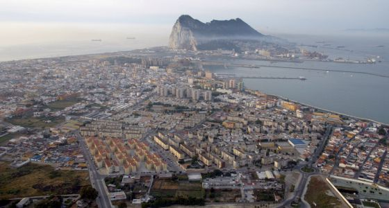 An aerial view over the Rock of Gibraltar and the Spanish town of La Línea de la Concepción.