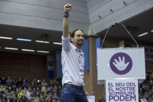 Pablo Iglesias at a rally in Barcelona in December..