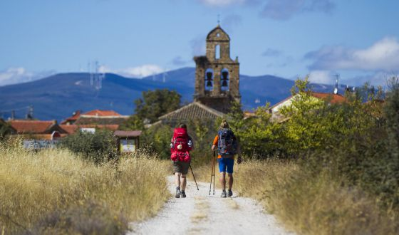 Pilgrims walking the Camino de Santiago.