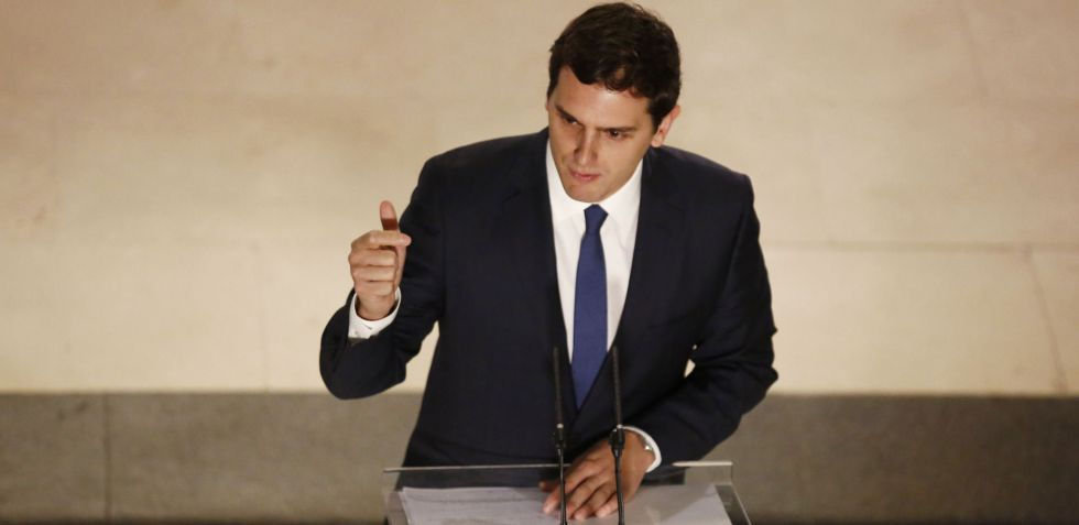 Albert Rivera after signing the agreement with the Socialists on Wednesday.
