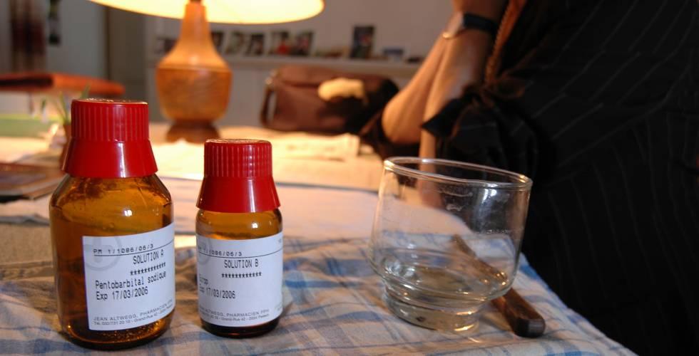 Un frasco de pentobarbital utilizado en un suicidio asistido.