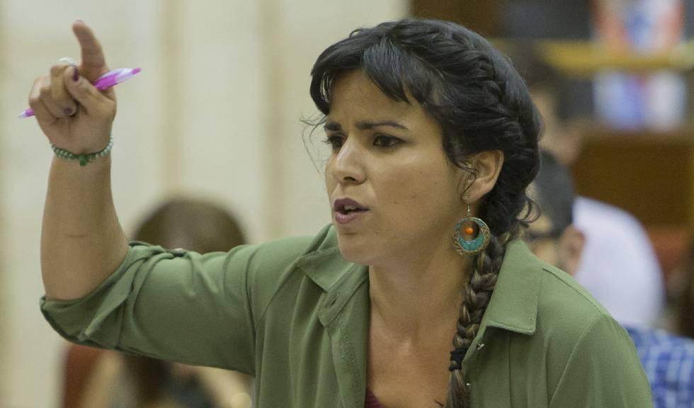 La líder de Podemos, Teresa Rodríguez, este jueves en el Parlamento andaluz.