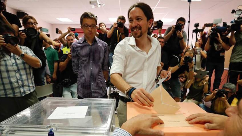 O líder do Podemos, Pablo Iglesias, neste domingo.
