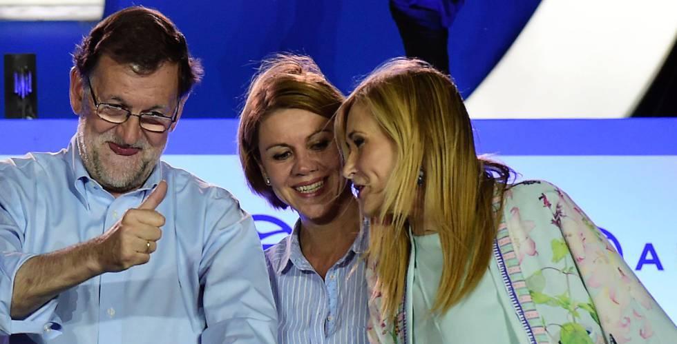 Mariano Rajoy, Dolores de Cospedal y Cristina Cifuentes.