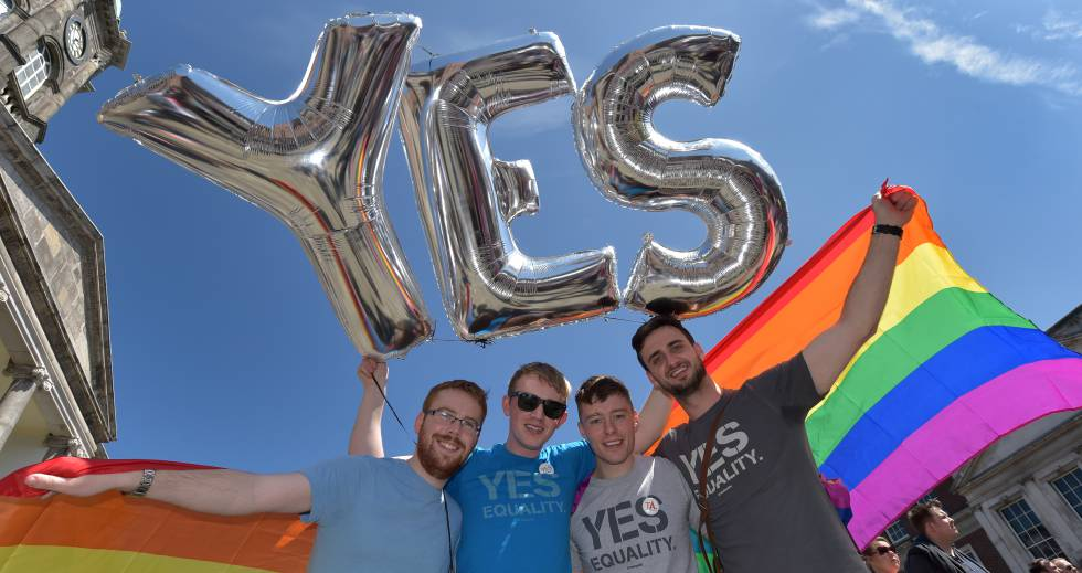 Gay rights supporters in Dublin.